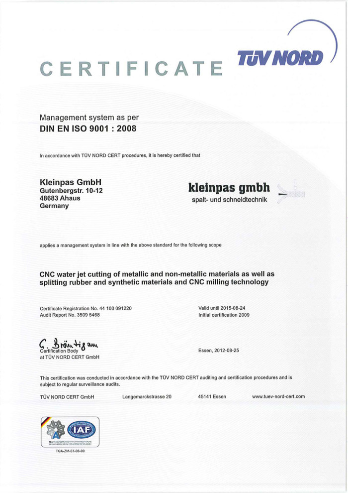 Zertifikate bei kleinpas GmbH
